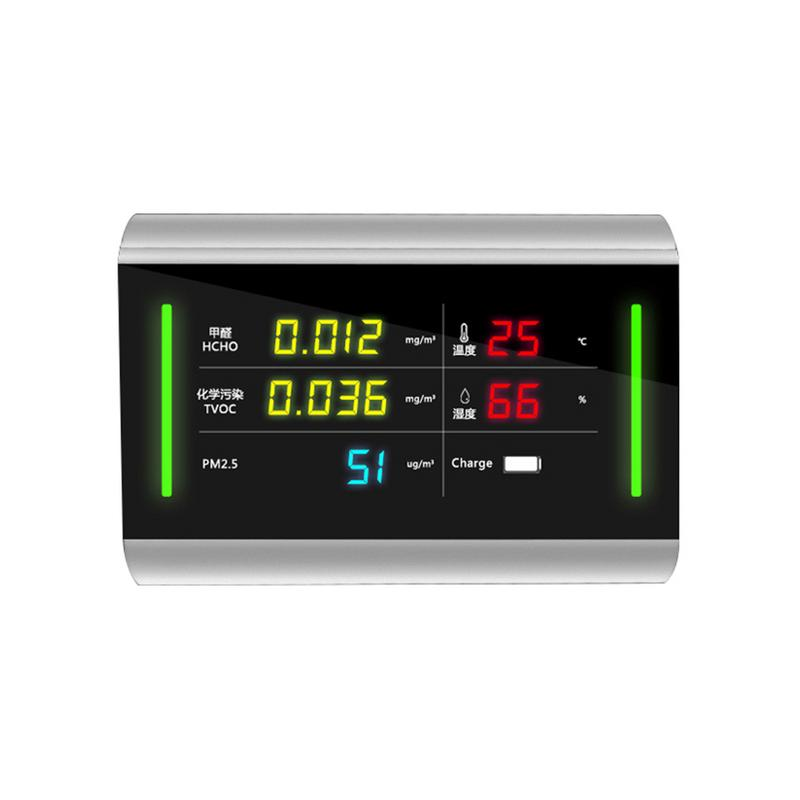 5 in 1 Indoor PM2 5 HCHO TVOC Detector USB Charging 6 Megapixel LED Screen Air