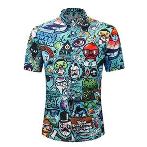 Image 2 - Artı boyutu 2XL erkekler yaz rahat karikatür 3D baskı kısa kollu tişört turn aşağı yaka bluz hawaii en plaj tatil için