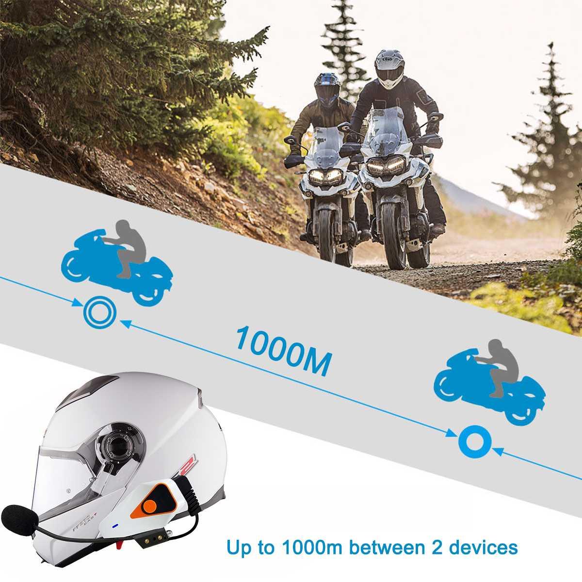 1000 M Bluetooth 3,0 EDR Wasserdichte moto rcycle Helm Sprechanlage Intercom Radio Headset 750 mAh Intercom moto moto rcycle Intercom