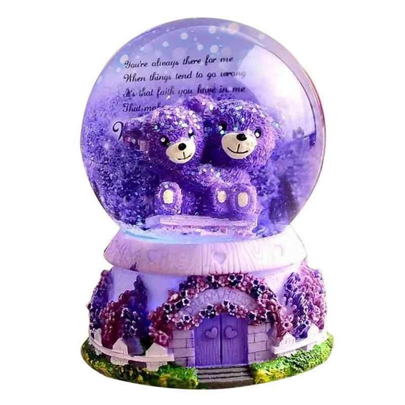 Lavender Purple Bear Crystal Ball Music Box Lights Snowflakes Birthday Girlfriend Gift Home Decoration