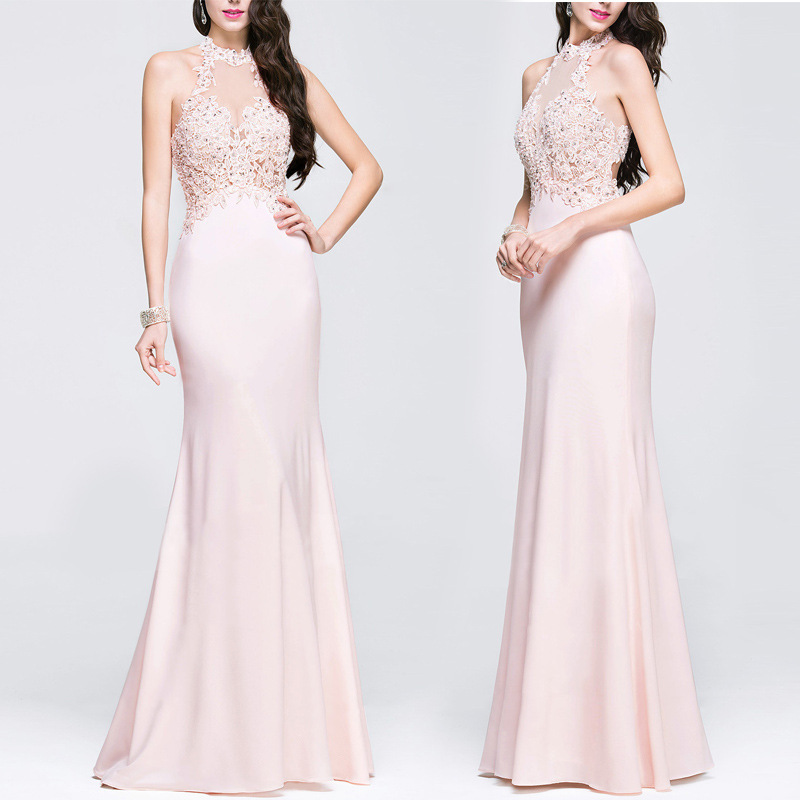New Arrival Pink Prom Dresses Sexy Halter Mermaid Sleeveless Long 2018 Elegant Lace Appliques Cheap Wedding Guest Dresses