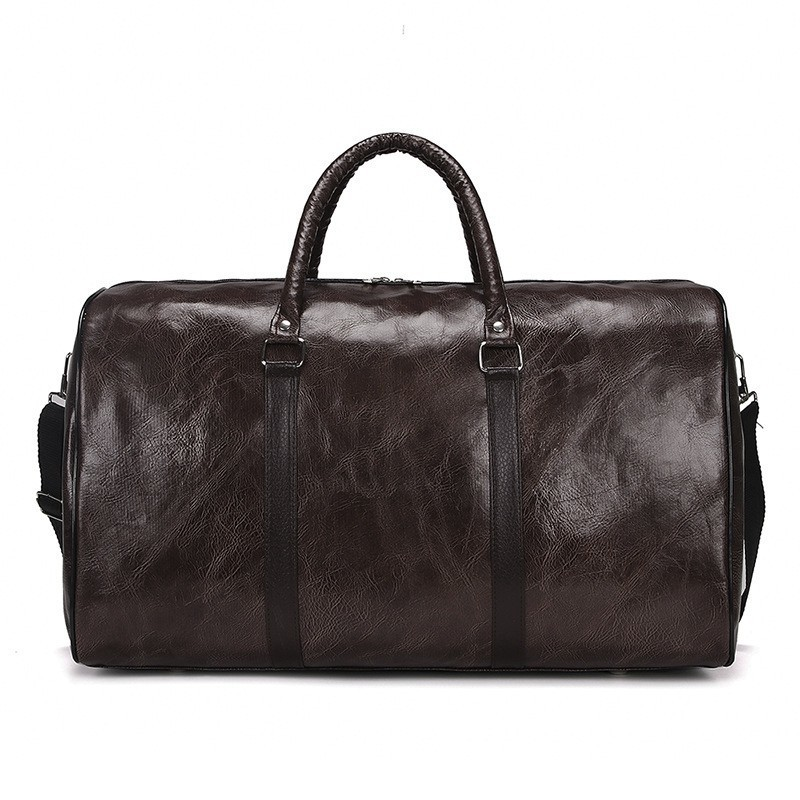 2019 New luggage men Travel bag leather Fitness Bags women Handbags Retro Travel Bags Large capacity Bags Portable Sports black in Travel Bags from Luggage Bags