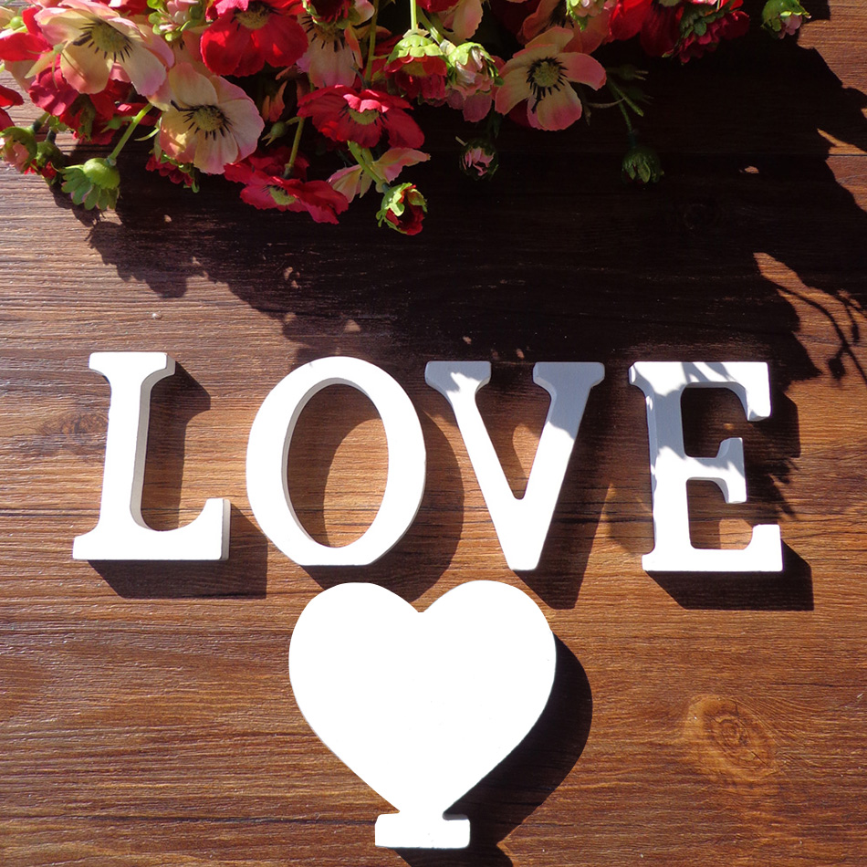 White Picket Letters English Alphabet Phrase Title Design Artwork Craft Free Standing Coronary heart Form Marriage ceremony Social gathering Instrument Dwelling decor Collectible figurines & Miniatures, Low cost Collectible...