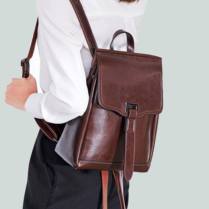 High Quality Genuine Leather Backpack Travel Knapsack Single Shoulder Bag Fashion Girls Daypack Women Real Cowhide Rucksack