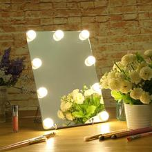 LED Touch Screen 9 Bulbs Dimmable LED Makeup Mirror For Dressing Table Big Size HD Vanity Make up Mirrors Cosmetic Tools Lights недорого