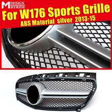 For Merceds W176 A-Class A45 Style Front Grille Grill ABS Silver Sports A180 A200 A220 A250 Pre-Facelift Models To 2013-2015
