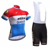 Team Quick Step 2019 Men's Splash Print Quick Dry Short Sleeve Cycling Jersey Top Shorts Bike Clothes Sets 16d Gel Pad
