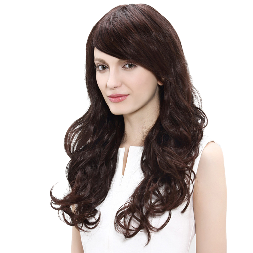 New Women Long Curly Wavy Hair Full Wig, Real Human Hair Hairpieces Chestnut Color Heat Resistant Daily Wedding Use fashion short boutique side bang curly chestnut brown synthetic capless wig for women