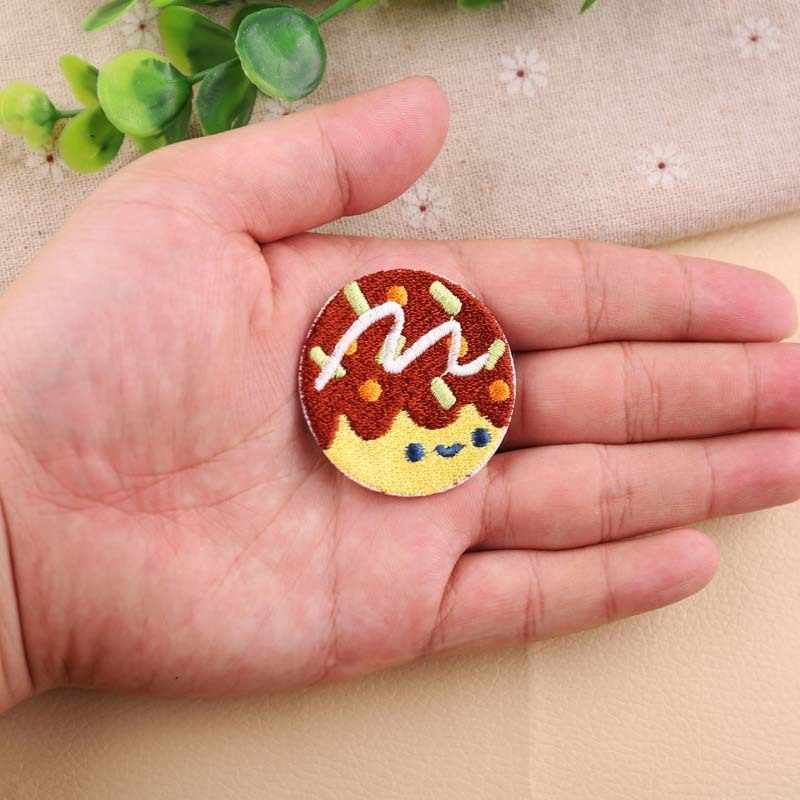 PGY 1PCS 도넛 연어 초밥 작은 문어 자수 꿀 복숭아 패치 의류 철 아이 옷 Appliques 배지