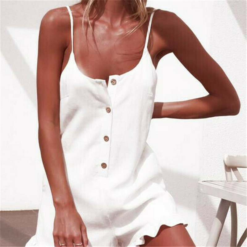 Women Playsuit Summer Solid Ruffle Jumpsuit One Piece Romper Sexy Beach Playsuit Button Jumpsuit Sleeveless Bodysuit Streetwear