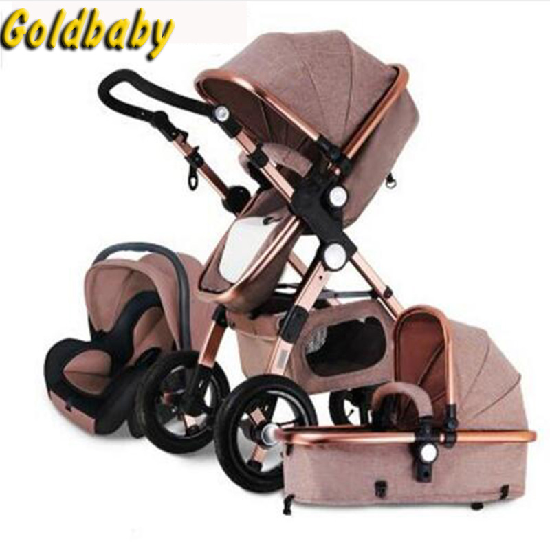 Gold Baby Strollers 2in1 3in1 Baby Car Seats Russia Free Shipping