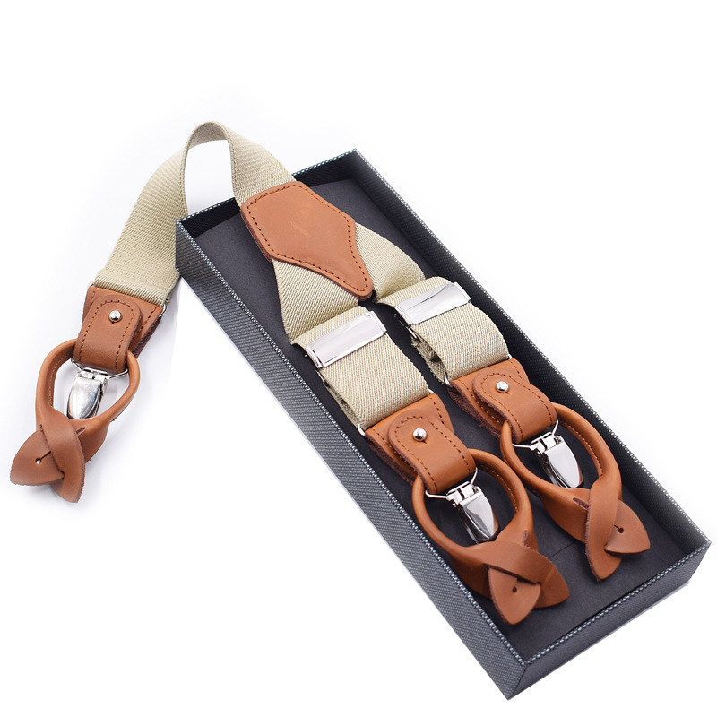 2019 New Men's Fashion 6 Clip Button Adult Strap Adjustable Double Brown Leather Casual Suspender Belt Extended Version