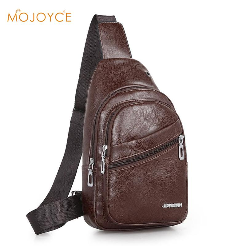 Men Original Crazy Horse Leather Casual Fashion Crossbody Chest Sling Bag Sports Men Casual Crossbody Chest Bags Daypack Male