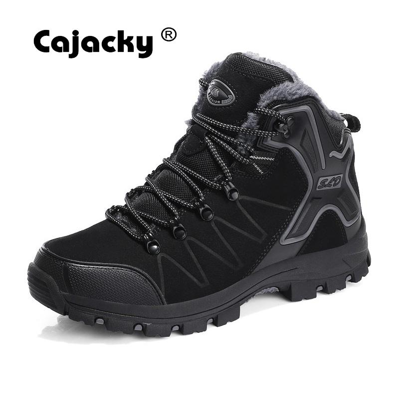 Cajacky Men Boots Ankle Autumn Warm Boots Unisex Fashion High Top Sneakers Male Winter Botas Hombre Fur Boots Snow Shoes Spring Men's Boots