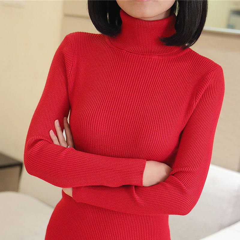 PEONFLY 23 Colors Elastic Sweaters Long-Sleeve Female Pullovers Turtleneck  Autumn Women Clothes Jumper Streetwear Knitted Tops