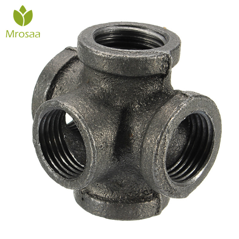 """Mrosaa 1/2"""" 3/4"""" 1"""" 5 Way Pipe Fitting Malleable Iron Black Outlet Cross Female Tube Connector Tap Faucet Accessories