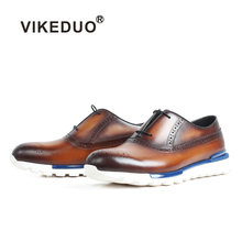 Summer Shoes Men VIKEDUO 2018 Luxury Handmade Brand Shoes For Men Genuine Leather Sports Sneakers Brogue Patina Men's Shoes Shoe(China)