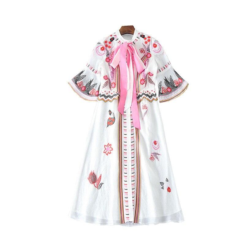Italie Femmes Élégant Avec Manches Arc Rose Voir Orange Flare 2018 D'été Mode Blanc Piste Broderie Défilé De Robe O0UI04q