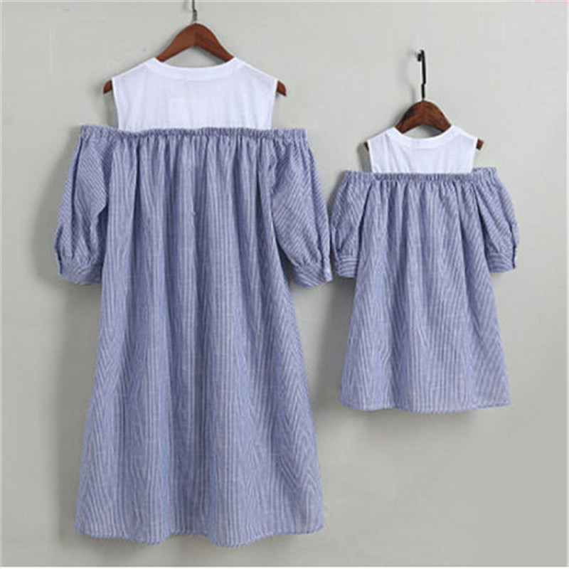 Mother Daughter Family Match Clothes Beach Dresses Womens Kids Girls Long Dress