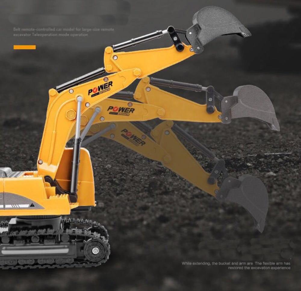 Купить с кэшбэком 2.4Ghz 6 Channel 1:24 RC Excavator toy RC Engineering Car Alloy and plastic Excavator RTR For kids Christmas gift