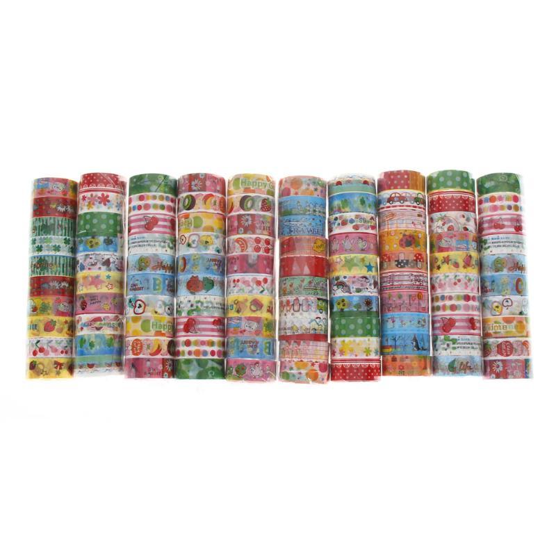 10Pcs/set Cartoon Washi Tape DIY Decoration Scrapbooking Planner Masking Tape Adhesive Washitape Label Sticker Stationery