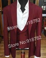 Burgundy Men Suits For Wedding Groom Suit Peaked Lapel Double Breasted Vest 3 Piece Suit Men Slim Fit Costume Homme Mariage