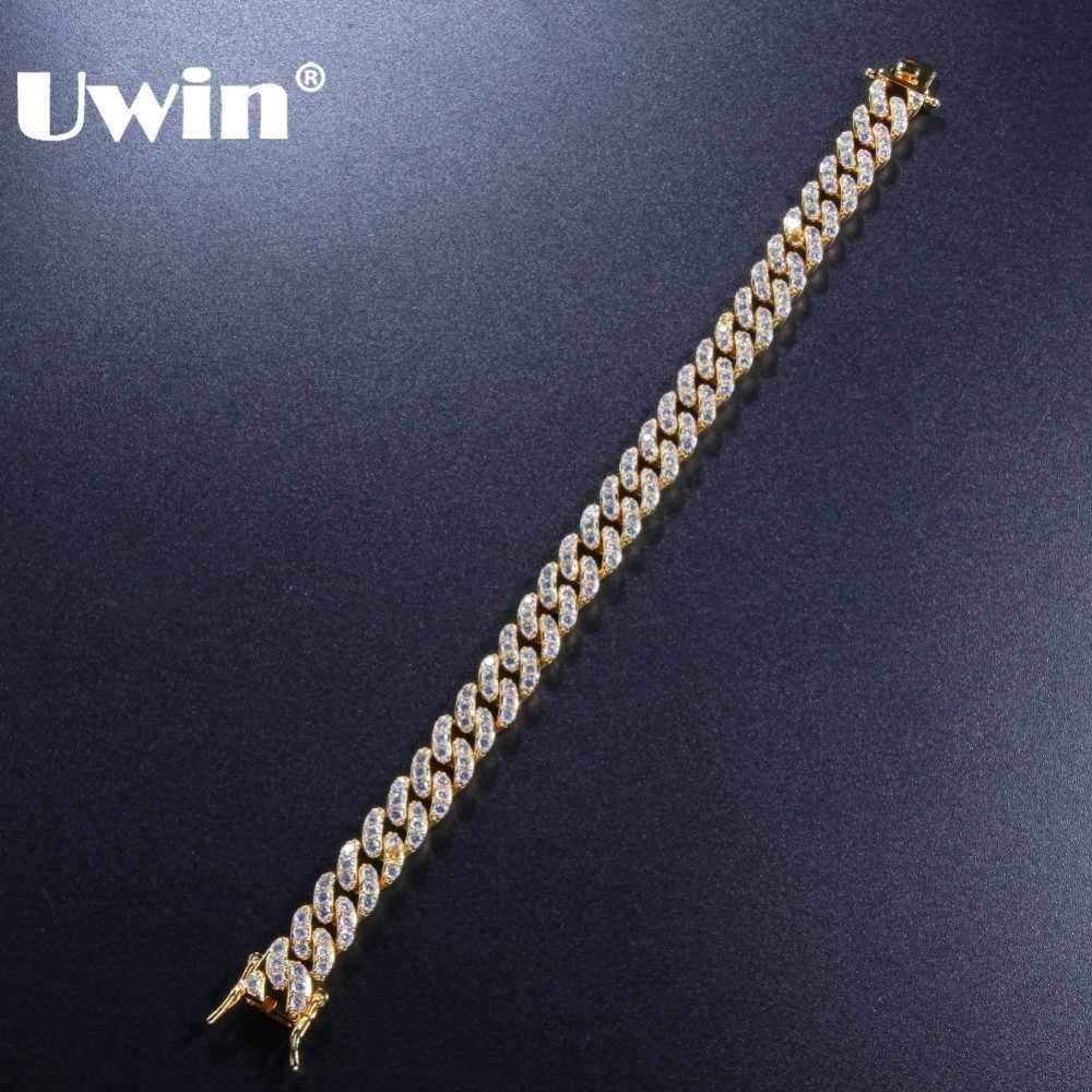 UWIN 9 มม.Cubic Zirconia Cuban Link สร้อยข้อมือผู้ชายผู้หญิงแฟชั่น HIPHOP Gold Silver สี Bling Bling DROP การจัดส่ง