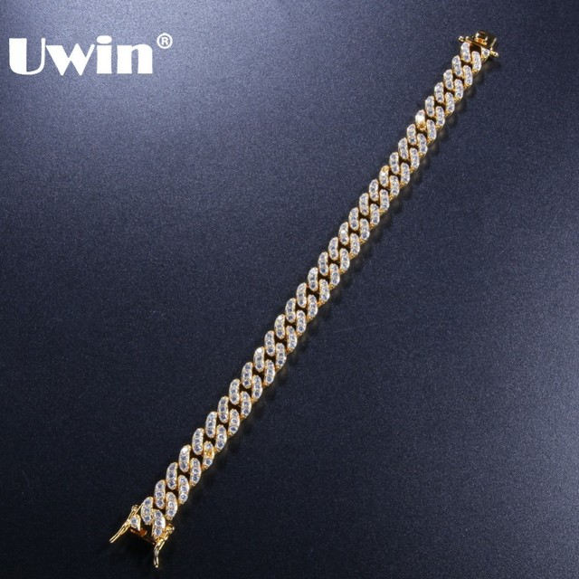 0c5b84a8fc855 US $11.28 40% OFF|UWIN 9mm Cubic Zirconia Cuban Link Bracelets For Men  Women Fashion Hiphop Gold Silver Color Bling Bracelet Jewelry Drop  shipping-in ...