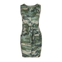 191e5d23f12a2 2019 Women Fashion Summer Mini Dress Casual Sleeveless Vest Dresses Ladies Camo  O-Neck Bow