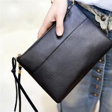 Simple Black Female Crossbody Bags Casual PU Leather Clutch Bag For Girls Messenger Bag Cheap Women's Clutch Bag