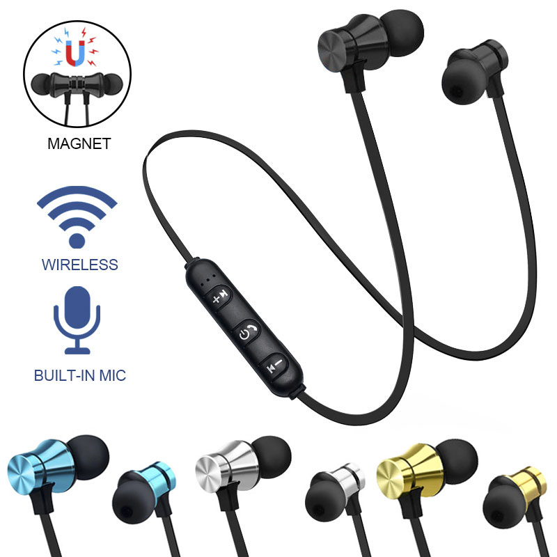 uk availability cf1c5 2d3b5 US $3.12 29% OFF|Earphone Wireless Bluetooth Headset Magnetic Earbuds  Waterproof Sport With Mic For iPhone Sony Xiaomi Meizu Gaming Headset-in ...