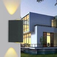 실내 야외 방수 벽 램프 10W 알루미늄 블랙/실버 광장 조명 조명 정원 램프 LED COB 벽 램프