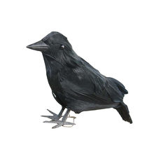 1pc Stimulated Life-like Crow Photo Prop Realistic Black Feathered Bird for Office Halloween Home Garden Decoration(China)