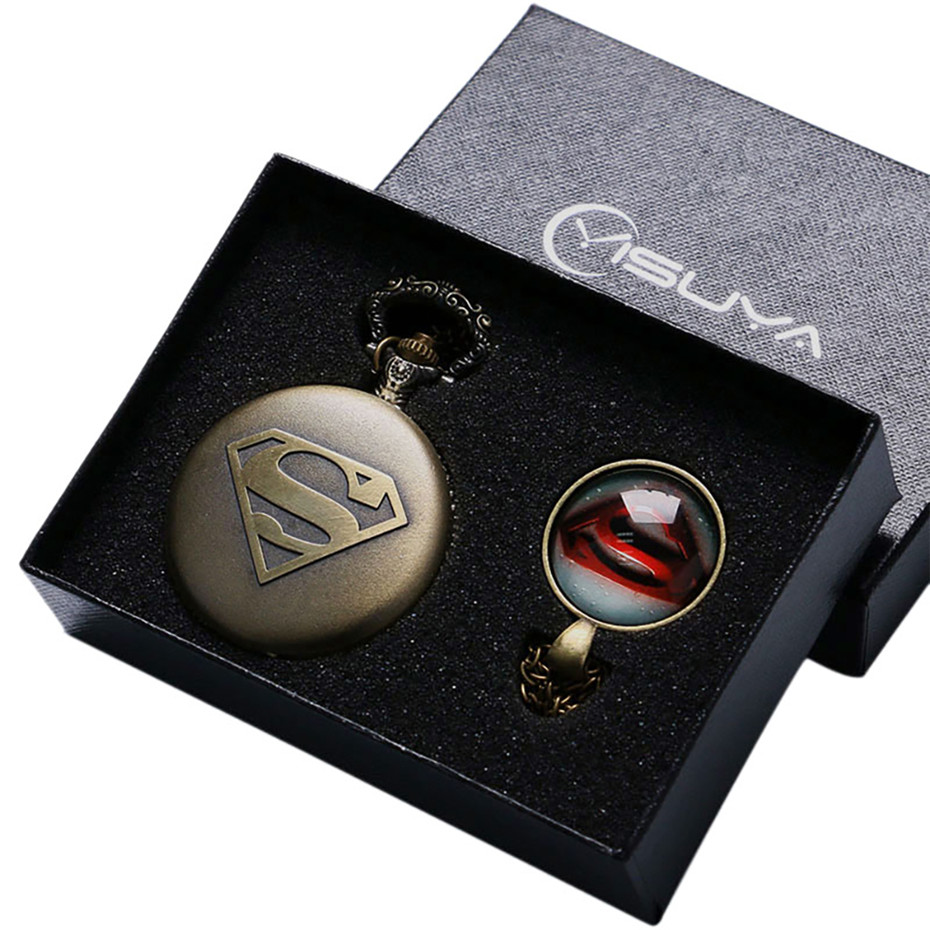 Super Man Design Quartz Pocket Watch Necklace Pendant Fob Men Watches Gifts Box Set Male Clock Boys Kids Christmas Birthday Gift