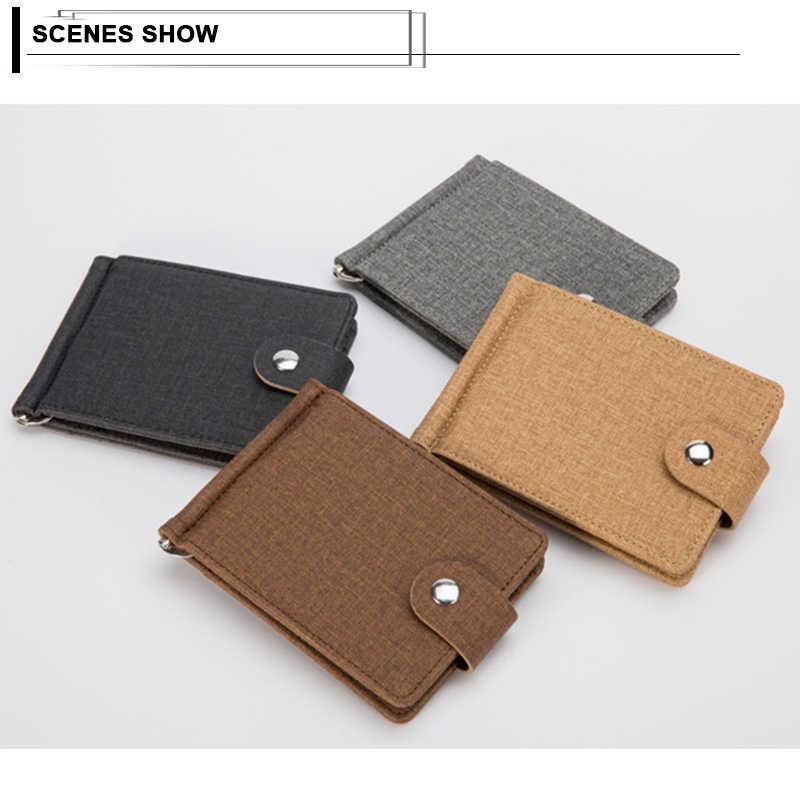 Casual Men Money Clip Short Business Bifold Wallet Canvas Solid Designer Clutch Wallets Male Purse ID Credit Card Case Holders