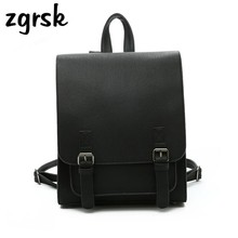 Fashion Women Backpack Quality Pu Leather School Student Bag Backpacks For College Simple Design Women Casual Daypacks Mochila simple men s backpack with zip and pu leather design
