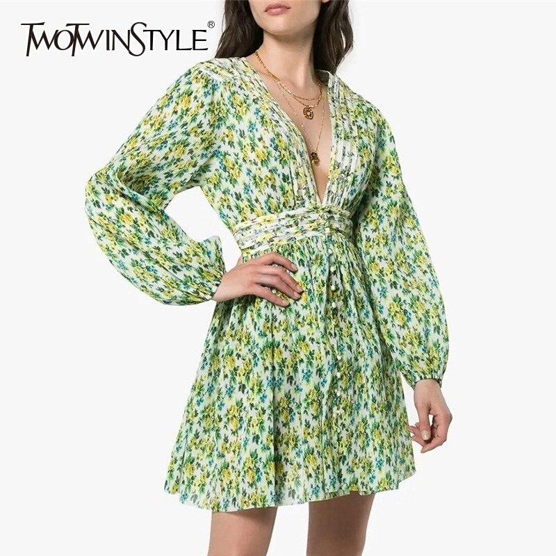 TWOTWINSTYLE Print Dress Female V Neck High Waist Tunic Lantern Long Sleeve Mini Dresses Women 2019