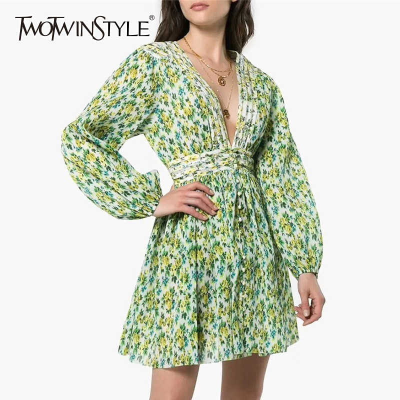 TWOTWINSTYLE Print Dress Female V Neck High Waist Tunic Lantern Long Sleeve Mini Dresses Women 2019 Spring Casual Fashion New blouse
