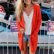 Women Orange Color Cardigan Slim fit Sweater Long Sleeve Knitted Cardigan  Outwear Open Stitch Coat( cd96ea2e8