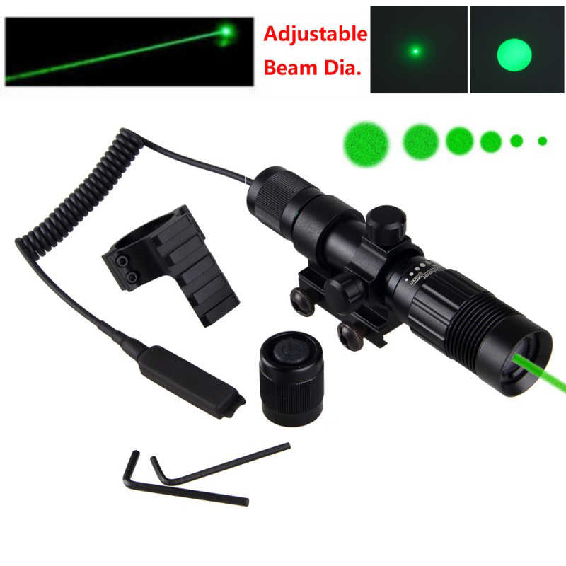 Taktis 5 MW Hijau Laser Adjustable Penanda Berburu Picatinny Senapan LAZER 20 Mm Rail Lingkup Mount Ring + Remote switch