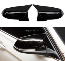 2Pcs Car Door Rear View Mirror Cover Gloss Black Rearview Mirror Caps Car Styling For BMW F30 F31 F32 F33 F36 3 4 Series 1 pair door mirror cover caps fits for bmw 3 series f30 f31 4 series f32 f33 f36carbon fiber driver and passenger side door mirr