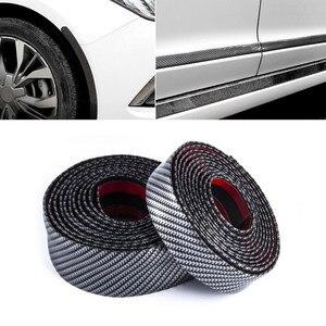 Image 5 - Hiyork Carbon Fiber Rubber Mouldings Strip Soft Black Trim Bumper DIY Door Sill Protector Edge Guard Car Stickers Car Styling 1M