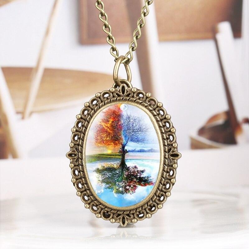 Seasons Tree Display Quartz Pocket Watch Unique Tree Show Spring Summer Autumn Winter Pendant Jewelry Clock For Men Women Reloj