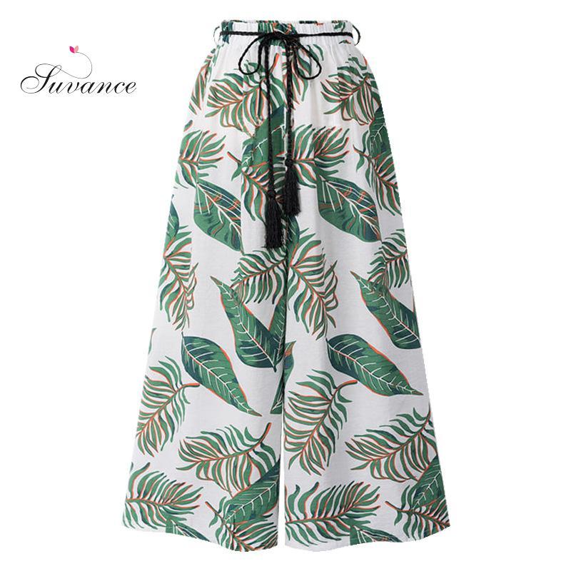 Suvance Summer Casual Print High Waist Wide Leg Pants Fashion Loose Big Size M-6xl Ankle Leng Pants