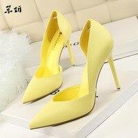 Женские туфли-лодочки; модная обувь на высоком каблуке; цвет черный, розовый, желтый; женская свадебная обувь