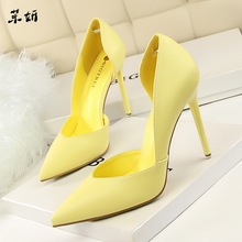 Women Pumps Fashion High Heels Shoes Black Pink Yellow