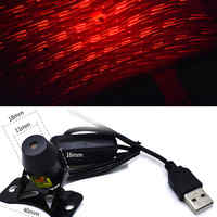 Meteor Star Red LED Car Ambient Ceiling Light USB Interior Galaxy Lamp Projector Mini Roof Lamps for Cars Optic Lighting