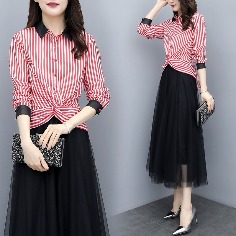 new spring 2019 two piece women 39 s striped shirt amp black skirts long pleated skirt Korean fashion suit top outfit vestido S XXL in Women 39 s Sets from Women 39 s Clothing