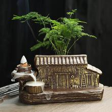 Backflow Incense Burner Mountain River Handicraft Holder Smoke Waterfall Traditional Ceramic House Censer