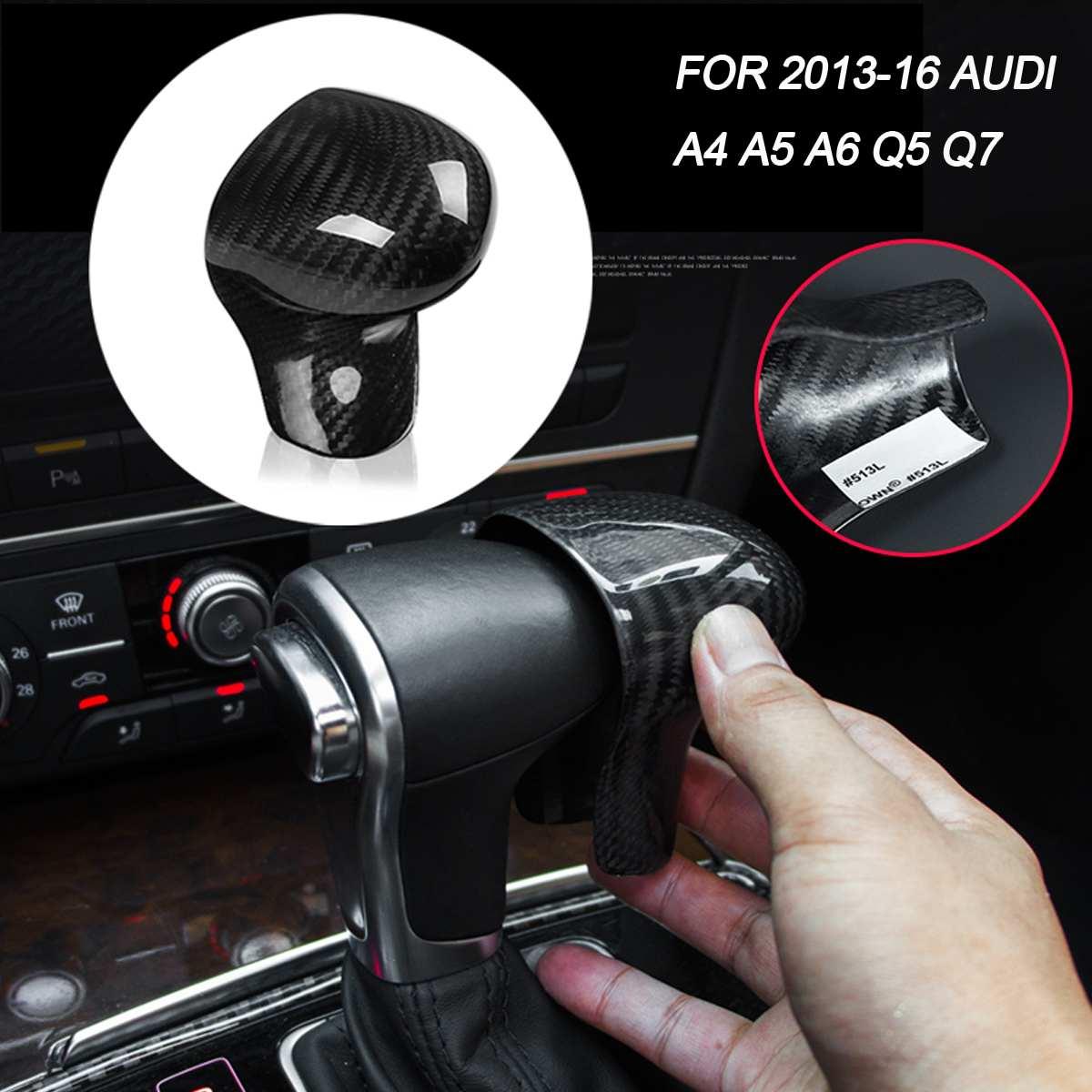 Car Carbon Fiber Add On Gear Shift Knob Cap Head Lever Stick Cover Fits for AUDI A4 A5 A6 Q5 Q7 Automatic 2013 2016